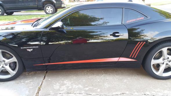 side of black 2014 Chevy Camaro Stripes ROCKER SPIKES & GILLS 2009-2015