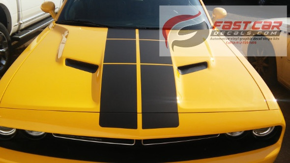 front of yellow 2018 Dodge Challenger Blacktop Stripes PULSE RALLY 2008-2021