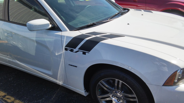side of white 2016 Dodge Charger Fender Stripes 15 DOUBLE BAR 2011-2021