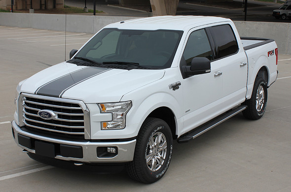 front angle of 2017 F150 Center Decals 150 CENTER STRIPE 2015-2017