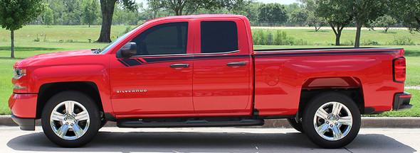 profile of red NEW! Half Ton 1500 Chevy Silverado Top Stripes BREAKER 2014-2018