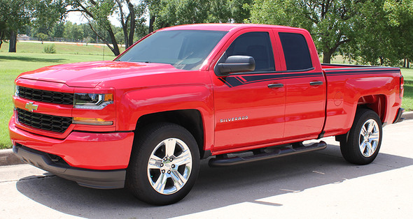 front of red NEW! Half Ton 1500 Chevy Silverado Top Stripes BREAKER 2014-2018
