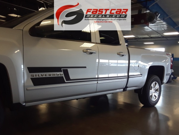 side angle of 2017 Chevy Silverado Graphics and Stripes SHADOW 2013-2016 2017 2018
