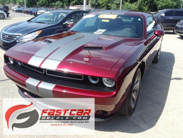 front angle of Dodge Challenger Racing Stripes 15 CHALLENGE RALLY 2015-2020 2021