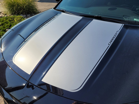close up of black 2018 Dodge Charger Hood Decals RECHARGE 15 HOOD 2015-2021