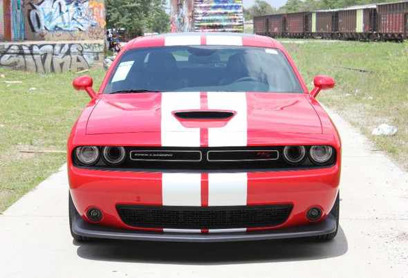 front of red Dodge Challenger RT Hemi Stripes 15 CHALLENGE RALLY 2015-2021
