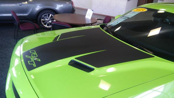 side of green 2017 Dodge Challenger Hood Graphics CHALLENGE HOOD 2015-2021