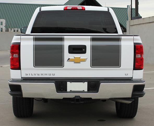 rear of white 2015 Chevy Silverado Rally Stripes 1500 RALLY 2013 2014 2015
