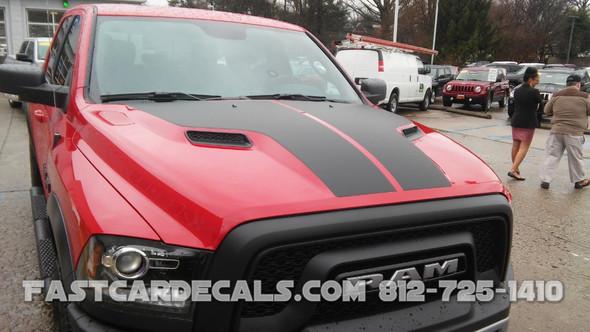 front angle of Factory Style Dodge Ram 1500 HEMI HOOD Stripes 2009-2018