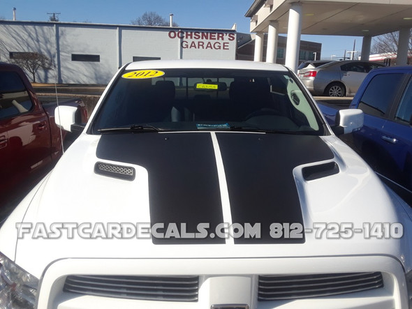 front of white Factory Style Dodge Ram 1500 HEMI HOOD Stripes 2009-2018