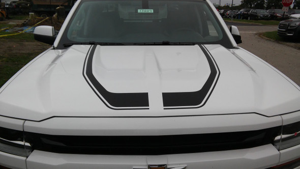 front of white 2018 Chevy Silverado Hood Decals FLOW HOOD Stripes 2016 2017 2018