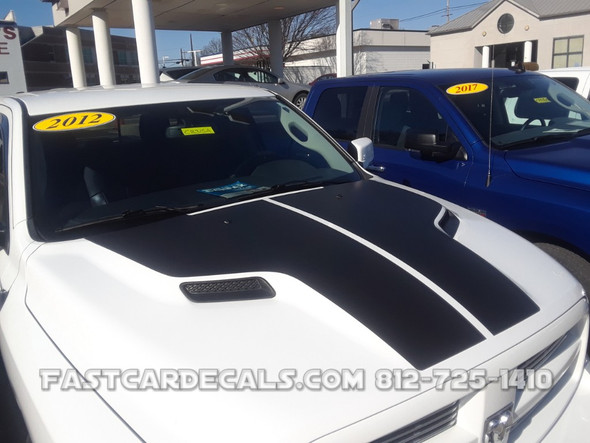 side of white 2018 Dodge Ram Hemi Hood Decals HEMI HOOD 2009-2016 2017 2018 (2019-2021 Classic)