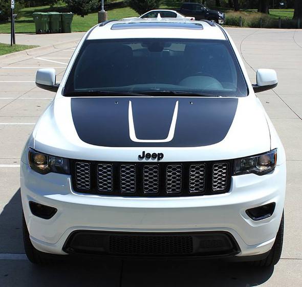 front of white 2019 Jeep Grand Cherokee Hood Stripe TRAIL HOOD 2011-2019 2020 2021