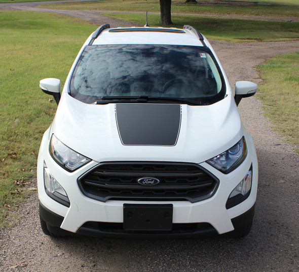 front of 2020 Ford EcoSport Hood Decals AMP HOOD 2018-2020