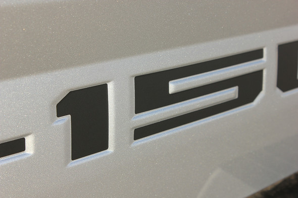 close up of silver 2019 Ford F150 Tailgate Stripes Blackout Inlay 2018 2019 2020