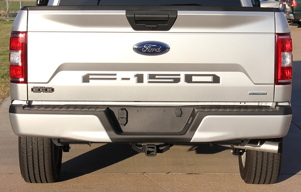 rear of silver 2019 Ford F150 Tailgate Stripes Blackout Inlay 2018 2019 2020
