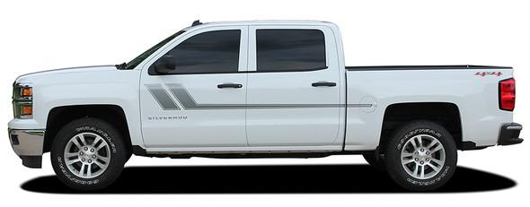 side of 2018 Chevy Silverado Bed Side Stripes TRACK XL 2013-2016 2017 2018