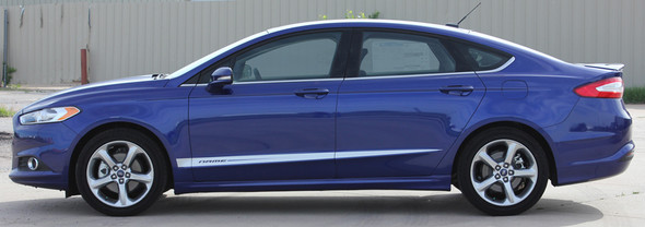 side of 2017 Ford Fusion Lower Rocker Graphic Stripes DAGGER 2013-2018