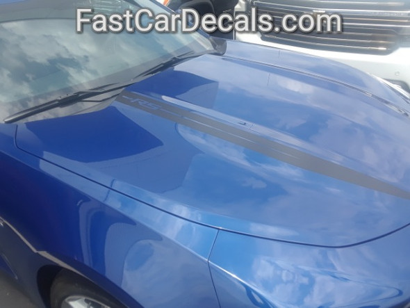side of blue Camaro Stripes WIDOW HOOD STRIPES 2019-2020