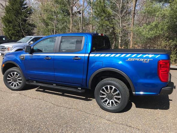 side of blue 2019 Ford Ranger Stripe Decals 2019 2021 UPROAR SIDE KIT
