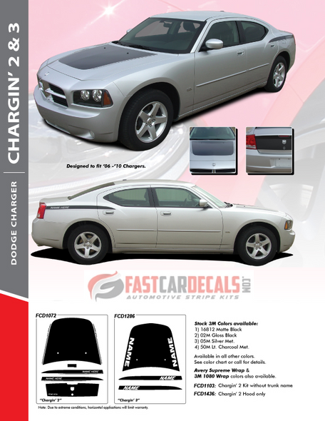 flyer for 2006 Dodge Charger SXT Decals CHARGIN 2 2006 2007 2008 2009 2010