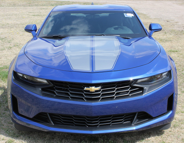front of blue 2019 2020 Camaro Racing Stripes REV SPORT PIN : Chevy Camaro Hood Decals with Pin Stripe Outline Vinyl Graphics