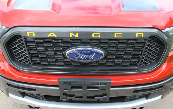front of 2019 Ford Ranger Grill Decals RANGER GRILL LETTERS 2019-2021