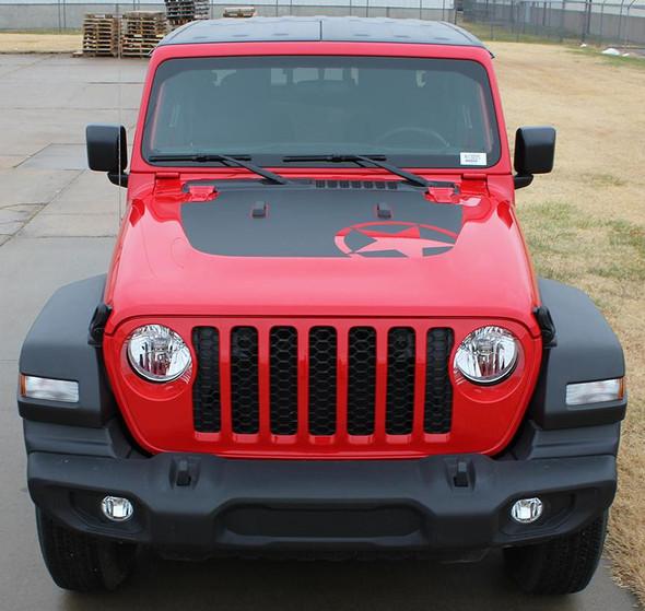 front of 2020-2021 Jeep Gladiator / Wrangler Hood Stripes OMEGA HOOD