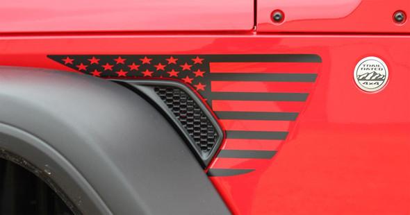 side or red PATRIOT : Jeep Gladiator Side Vent Star Vinyl Graphics Decal Stripe Kit for 2020-2021