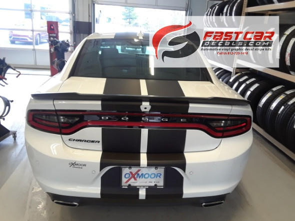 rear view of R/T, SRT 392 Dodge Charger Racing Stripes 2015-2021 N-CHARGE 15