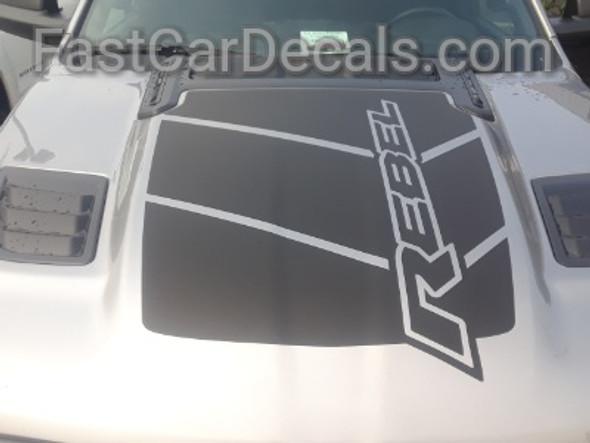 front of silver 2020 Dodge Ram 1500 Rebel Truck REB HOOD Stripes 2019 2020 2021