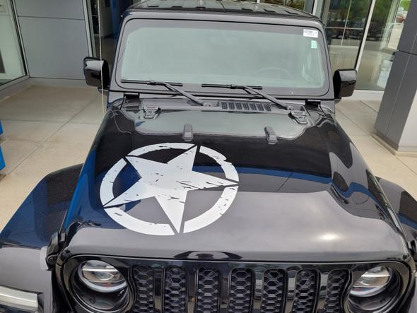 front angle of Jeep Gladiator Hood Stripe 2020-2021 LEGEND HOOD (fits Wrangler also)