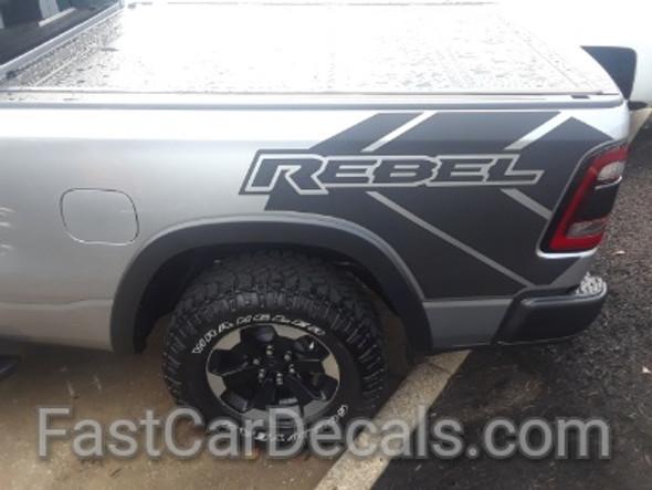 side of silver 2021 Dodge Ram 1500 Rebel Edition Stripes REB SIDE 2019 2020 2021