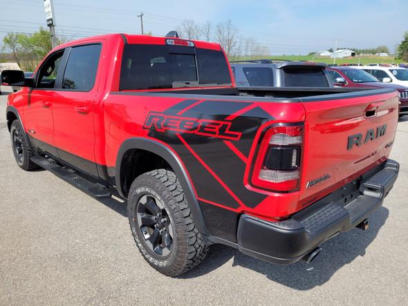 rear of red 2021 Dodge Ram 1500 Rebel Edition Stripes REB SIDE 2019 2020 2021