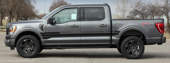 side of gray 2021 Ford F150 Stripe Graphics Package SWAY SIDE KIT 2021+