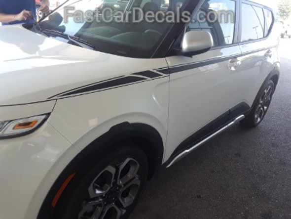 front of white 2022 2021 2020 Kia Soul Side Decals OVERSOUL ACCENTS ONLY