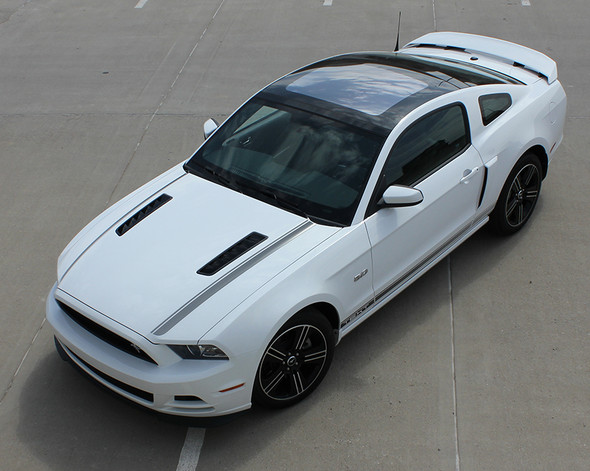 top front angle California Mustang GT stripe graphics 2013-2014 CALI EDITION