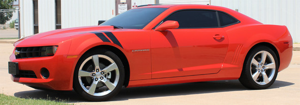side view of Rally Sport or SS Chevy Camaro Hash Stripes DOUBLE BAR 2009-2015