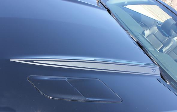 close up hood 2016 Ford Mustang Hood Stripe Decals HOOD SPEARS 2015-2017