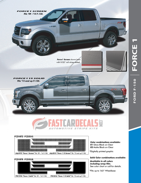 install info for 2018 Ford F150 Decals FORCE 1 2009-2015 2016 2017 2018 2019 2020