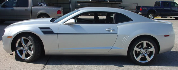 profile view 2010-2015 Chevy Camaro Mid Body Line Rally Stripes SPEED
