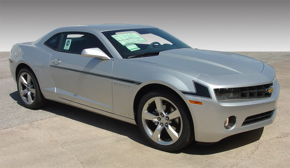side angled view of Chevy Side Stripes for Camaro 2009-2013 SHIFT