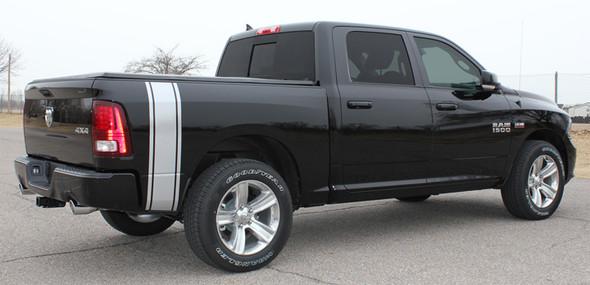 Rear side angle of 2016 Dodge Ram Vinyl Graphics RUMBLE KIT 2009-2019