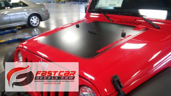 front of red 2017 Jeep Wrangler Hood Stripe OUTFITTER HOOD 2008-2017