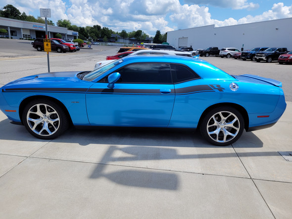 driver side of blue New Dodge Challenger RT Stripes DUEL 15 2015-2021