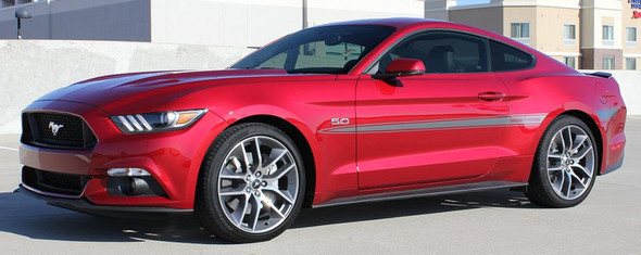front angle 2017 Ford Mustang Mid Body Stripe Decals LANCE 2015-2018