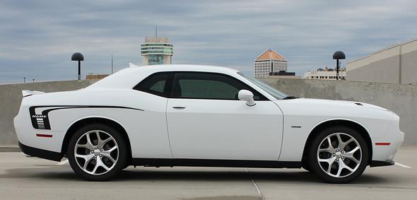 profile of white Dodge Challenger Body Rear Stripes CUDA STROBE 2008-2020