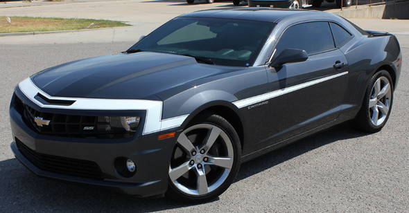 front angle black 2009-2013 Chevy Camaro Hood and Side Stripes VINTAGE KIT
