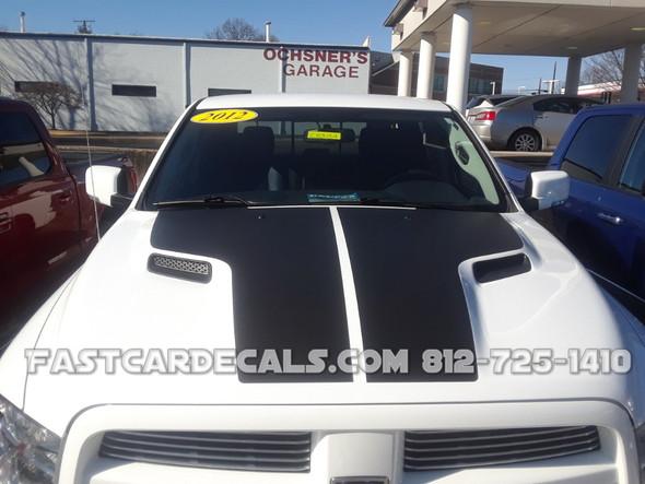 front of white 2018 Dodge Ram Rebel Stripes REBEL HEMI HOOD 2009-2018