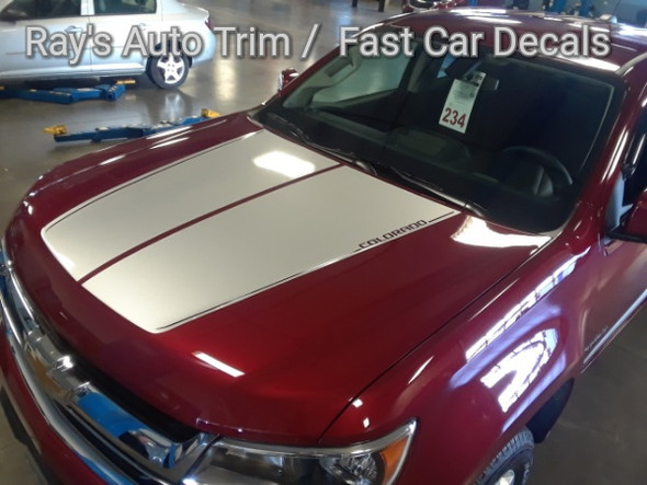 front angle red 2020 Chevy Colorado Hood Graphics SUMMIT HOOD 2015-2021